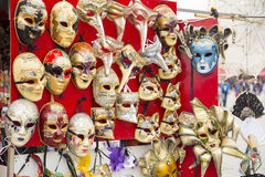 Group of famous traditional Vintage venetian carnival masks closeup Stock Image