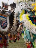 Group of Fancy Dancers at a Pow Wow  at Crow Fair in Montana. Two rows of fancy dancers entering a pow wow wearing feathered headdresses and bustles at Crow Fair royalty free stock images