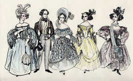 Group of fancy man and women 18 century. Group of fancy man and women 18 century - ink illustration Stock Image