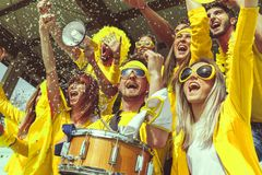 Group of fans dressed in yellow color watching a sports event. In the stands of a stadium stock image