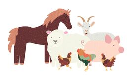 Group of farm animals isolated on background