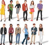 Cartoon young people vector illustration