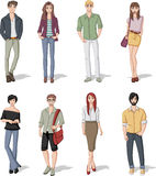 Group of fashion cartoon young people. Royalty Free Stock Images