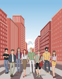 Group of fashion cartoon young people. Stock Photos