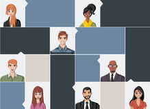 Group of fashion cartoon young people. Teenagers Royalty Free Stock Photos