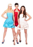 Group of fashion girls. Smiling women in dresses, isolated on white background royalty free stock photos