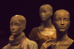 Group of fashion model mannequin. Or dummy imitating woman people stock photo
