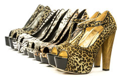 Group of fashionable high heels in animal print design Stock Image