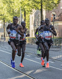 Group of fast African marathon runners Stock Photos