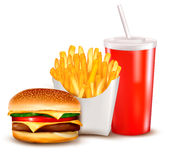 Group of fast food products. Royalty Free Stock Images
