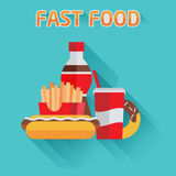 Group of fast food products. Flat vector Stock Photos