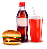 Group of fast food products. illustration. Royalty Free Stock Photos