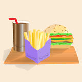 Group of fast food products. illustration Stock Photo