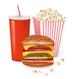 Group of fast food products. Vector Stock Photos
