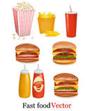 Group of fast food products. Vector Royalty Free Stock Images