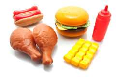 Group of fastfood, fried chicken, hotdog, french fries and ketch Royalty Free Stock Photo