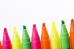 Group of felt tip bright color markers Royalty Free Stock Photos
