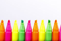 Group of felt tip bright color markers Royalty Free Stock Photo