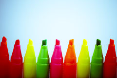 Group of felt tip bright color markers Royalty Free Stock Image
