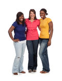 Group of Femal college students on white backgroun Stock Image