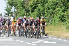 Group of female cyclists in aviva UK tour cycle road race Royalty Free Stock Image