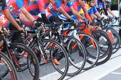 Group of female cyclists are ready to be on the starting line. KUALA LUMPUR, MALAYSIA -MARCH 16, 2019: Group of female cyclists are ready to be on the starting royalty free stock photo