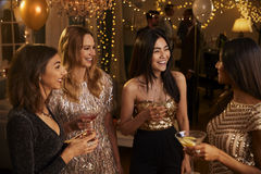 Group Of Female Friends Enjoying Cocktail Party Together Royalty Free Stock Photography