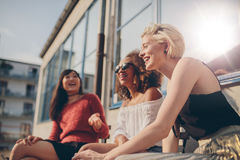 Group of female friends having fun outdoors Stock Photography