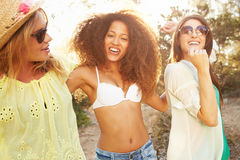 Group Of Female Friends Having Party On Beach Together Stock Images