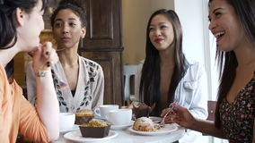 Group Of Female Friends Meeting In Café Restaurant stock video