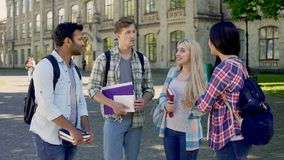 Group of female and male classmates discussing exams, university friends. Stock footage stock video footage