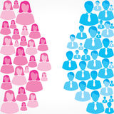 Group of female and male icons on white background Stock Images