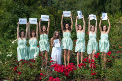 Group of female models in summer park Royalty Free Stock Photography