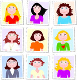 Group of female portraits Stock Photo