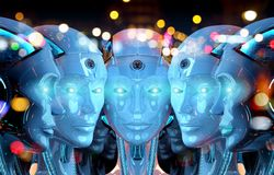 Group of female robots close to each others cyborg army concept 3d rendering. Group of female robots heads close to each others cyborg army concept 3d rendering stock illustration