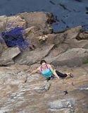Group of female rock climbers makes and ascent on Royalty Free Stock Photo