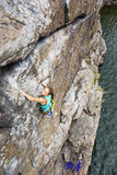 Group of female rock climbers makes and ascent on Stock Photos
