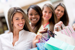 Group of female shoppers Stock Photo