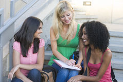 Group of female university students on steps Royalty Free Stock Image
