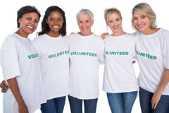 Group of female volunteers smiling at camera Royalty Free Stock Image