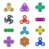 Group fidget spinner stress relieving toy colorful anti stress kids game plaything vector illustration. Cool mechanical fun children rotating fidgetspinner royalty free illustration