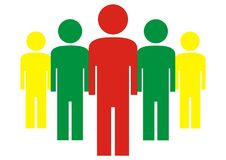 Group of figures, colored. Icon. Vector illustration. Management Royalty Free Stock Photo