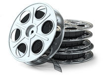 Group of film reels. On white background Royalty Free Stock Photos