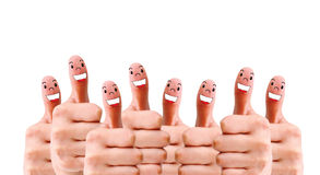 Group of finger faces as social network. Social network concept of Happy group of finger faces with speech bubbles Stock Photography