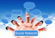 Group of finger faces as social network. Social network concept of Happy group of finger faces with speech bubbles Royalty Free Stock Image