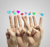 Group of finger with love heart speech bubbles Stock Image