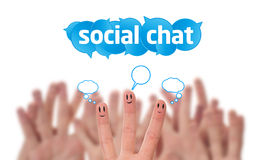 Group of finger smileys with social chat sig Stock Photo