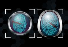 Group of Fingerprint Scanning Identification System. Illustration of Group of Fingerprint Scanning Identification System Stock Images