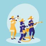 Group of firefighters avatar character. Vector illustration design stock illustration