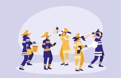 Group of firefighters avatar character. Vector illustration design vector illustration